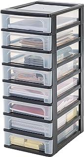 Iris Ohyama 144002, tour de rangement 8 tiroirs-Organizer Chest-OCH-2080, noir transparent, 32L, 26 x 35,5 x 65,5 cm, Plas...