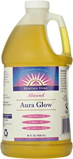 Heritage Store Aura Glow Massage Oil, Almond, 64 Ounce