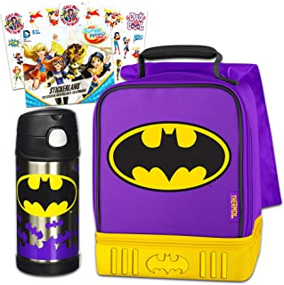 DC Batgirl Thermos Lunch Box and Funtainer Set for Kids - Dual Compartment Insulated Batgirl Lunch Box, Funtainer Water Bottle, Superhero Girls Stickers