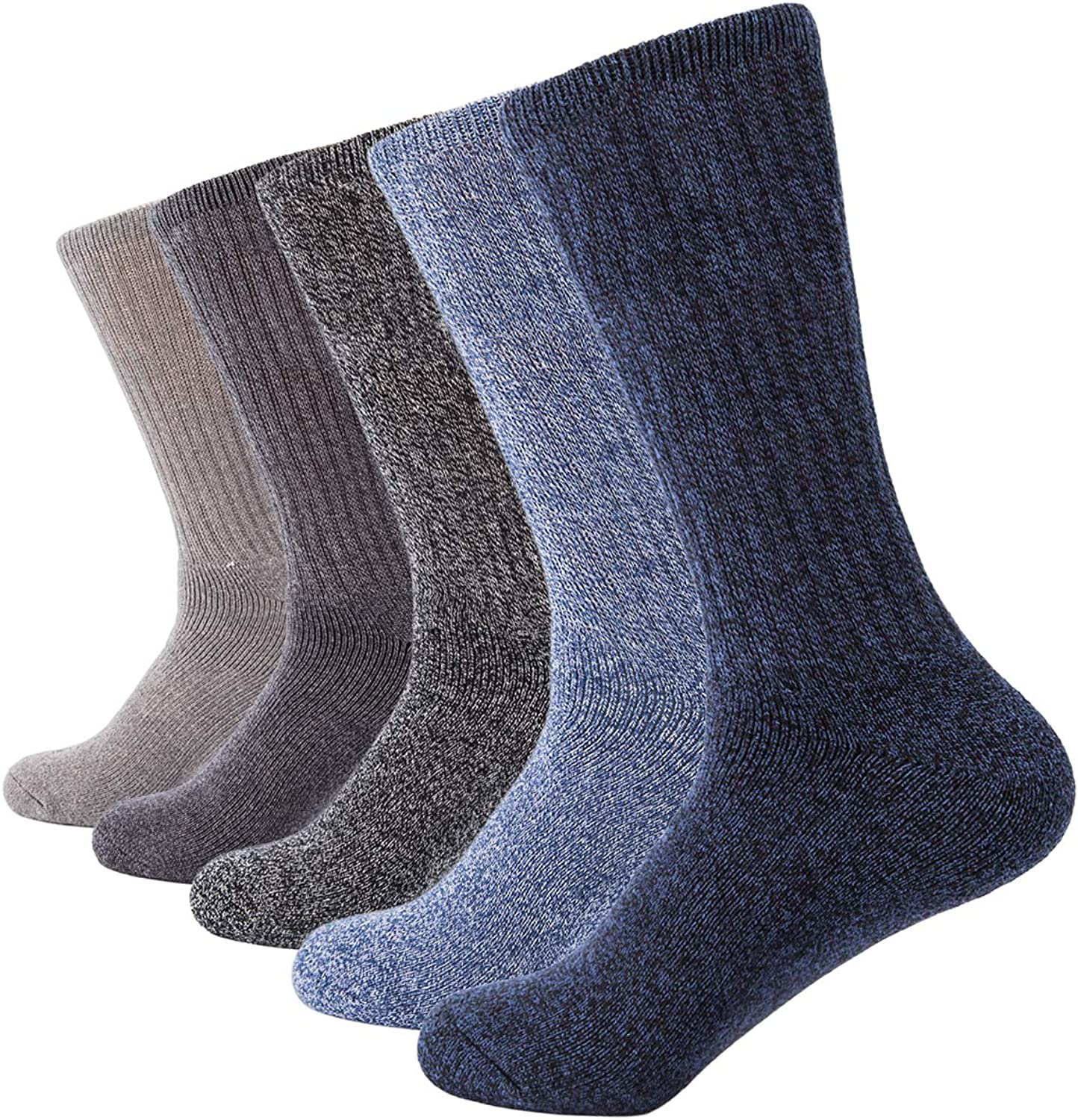 AIRSTROLL 5 Pack Crew Socks for Men Women Casual Knit Cotton Dress Socks
