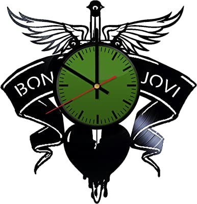 amazon home crafts bon jovi emblem design vinyl wall clock Bon Jovi Train bon jovi logo vinyl record wall clock contemporary and creative bedroom wall decor modern