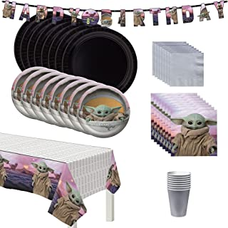 Party City The Mandalorian Birthday Tableware Decorating Kit for 16 Guests, Star Wars Plates, Napkins, Cups