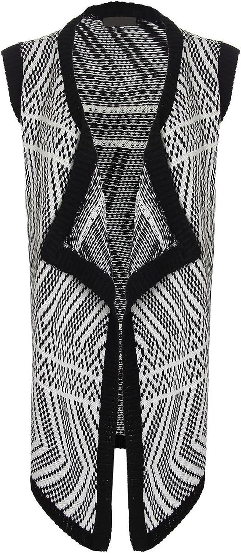 Rimi Hanger Islander Fashions Womens Knitted Zigzag Vest Cardigan Ladies Sleeveless Open Front Vest Waistcoat XL/2XL