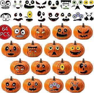 Outus 64 Pieces Halloween Pumpkin Face Stickers Halloween Pumpkin Decorations Pumpkin Craft Stickers Pumpkin Faces Craft Kit for Halloween Themed Party