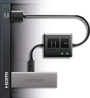 【最新版 Amazon Fire TV Stick専用】 Mission cables テレビ USBポートから AC電源を使用せず利用可能 テレビ TV 配線を美しく 壁掛けテレビにも最適 TV マウント アクセサリー(※Fire TV 本体は含まれません) (01) ケーブルのみ, 黒)