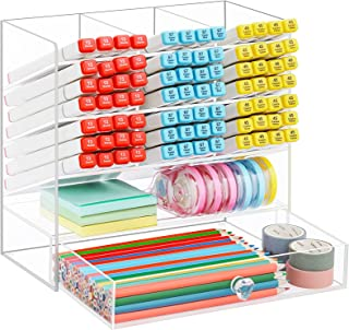 Marbrasse Clear Pen Organizer Storage, Upgraded Acrylic Desk Organizer with 10 Compartments + Drawer, Pen Organizer for De...