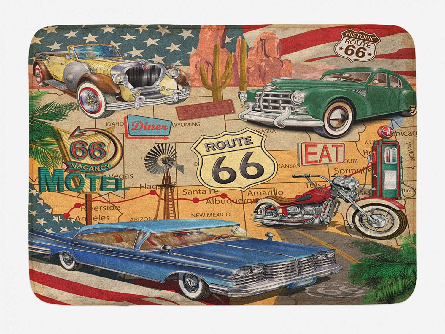 Lunarable Route 66 Bath Mat, Old Fashioned Cars Motorcycle on A Map Road Trip Journey American USA Concept, Plush Bathroom Decor Mat with Non Slip Backing, 29.5 W X 17.5 W Inches, Multicolor