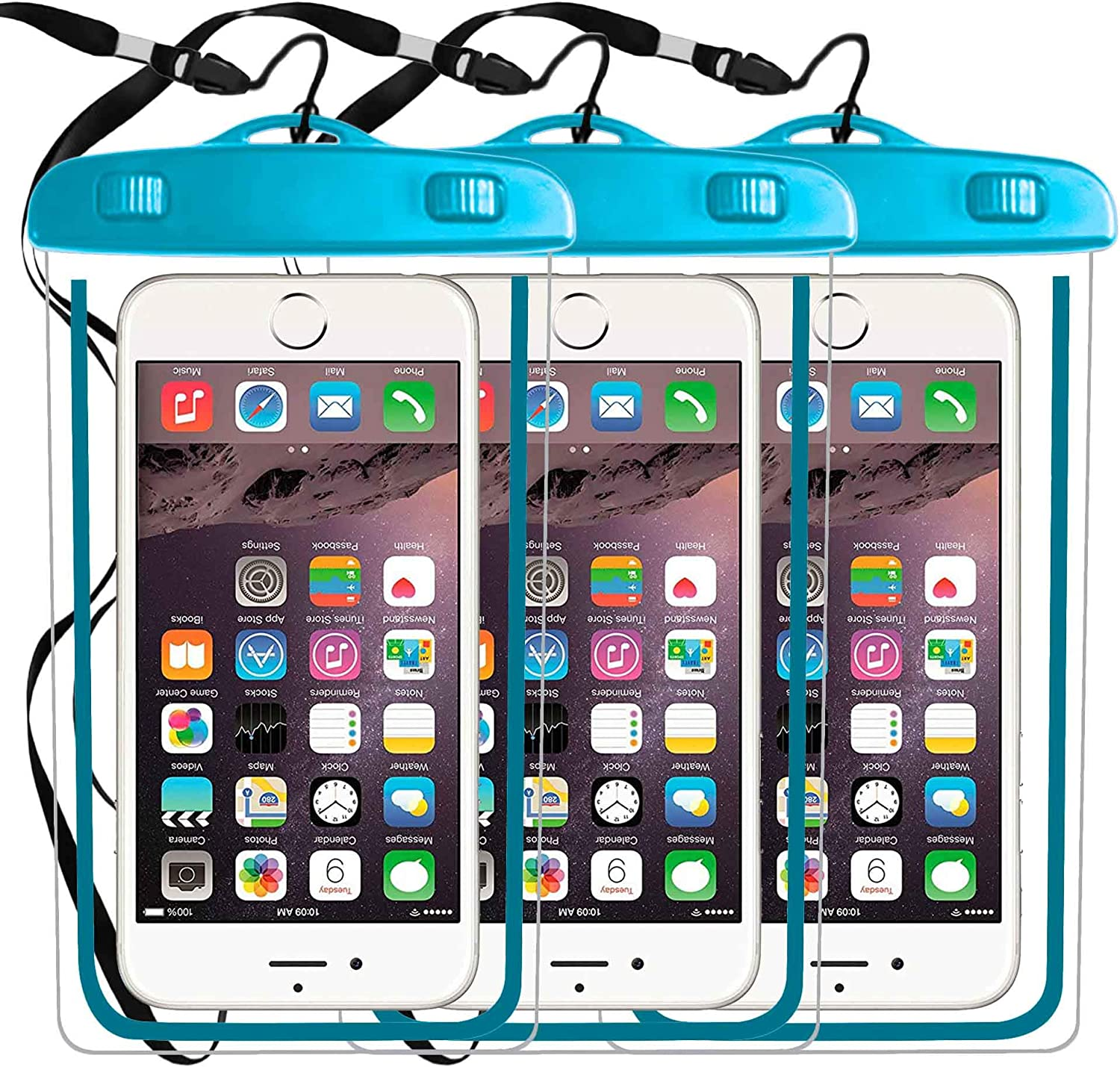 3 Pack Waterproof Phone Pouch,Cellphone Dry Case Bag Compatible with iPhone 11 PRO MAX Xs,XR,XS MAX,X 8,7,6s Plus,SE,Galaxy S9,S8+,s7 Edge LG,Diagonal to 6.3
