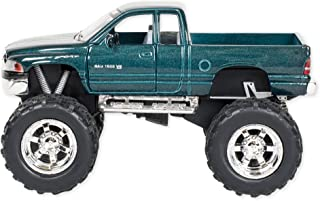 Aqua Blue Dodge Ram with Monster Wheels 5 inch Die Cast Pull Back Action Toy