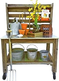 EST. LEE DISPLAY L D 1902 Potting Table Buffet Island Work Bench Outdoor Patio Garden Furniture Wood Rolling Cart & Zinc Table-Top w/Black Iron Castors & Brakes