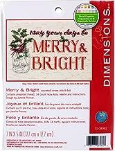 Dimensions 70-08982 Kit, Merry and Bright Mason Jar Christmas Cross Stitch, Ivory 14 Count Aida, 7'' x 5''