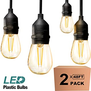 addlon 2 Pack 48ft LED Outdoor String Lights Hanging Edison Plastic Bulbs Commercial Grade Dimmable Patio Café Light, UL L...