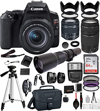 """$849 Get Canon EOS Rebel SL3 DSLR Camera (Black) with 18-55mm is STM, 75-300mm III, and 500mm Preset Professional Bundle: Includes – 64GB SanDisk Highspeed Memory Card + 50"""" Tripod + Canon Bag + More"""