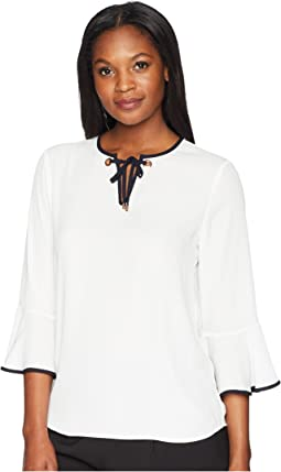 Georgette Bell Sleeve Contrast Piping Blouse