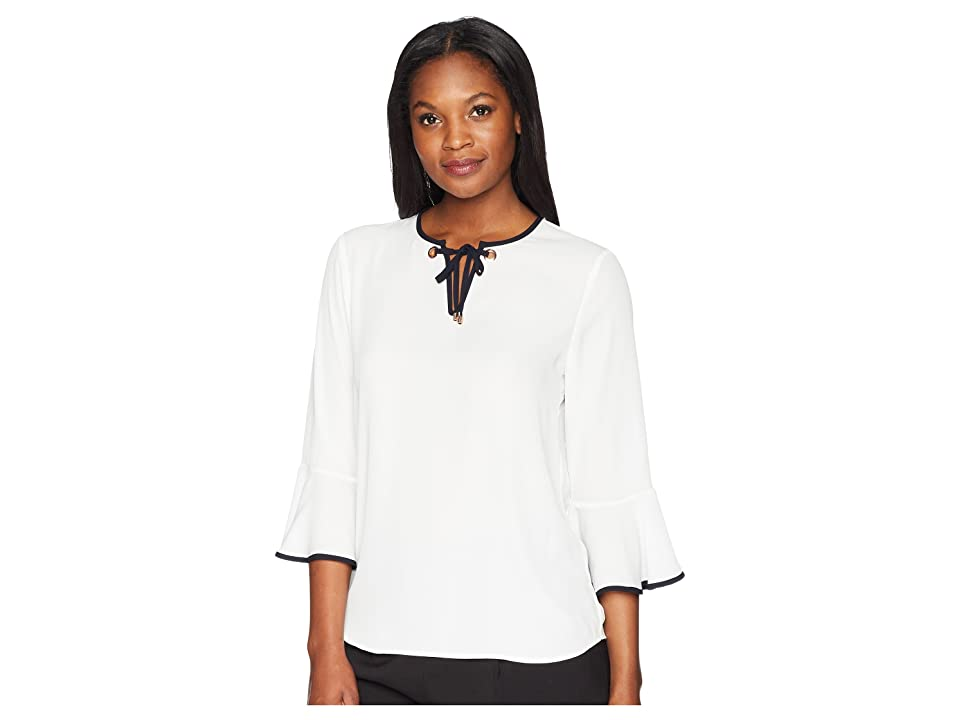 Ivanka Trump Georgette Bell Sleeve Contrast Piping Blouse (Ivory/Navy) Women's Blouse, White