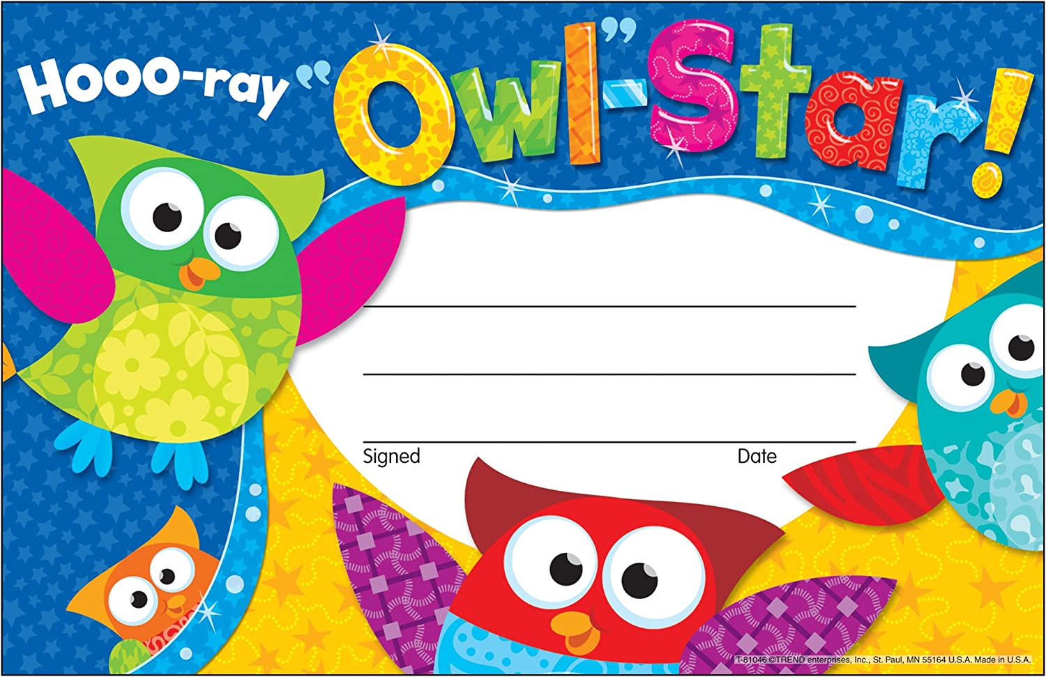 Trend Enterprises Owl-Stars Hooo Cheap mail order sales Sales for sale Ray Recognition of Pack Awards