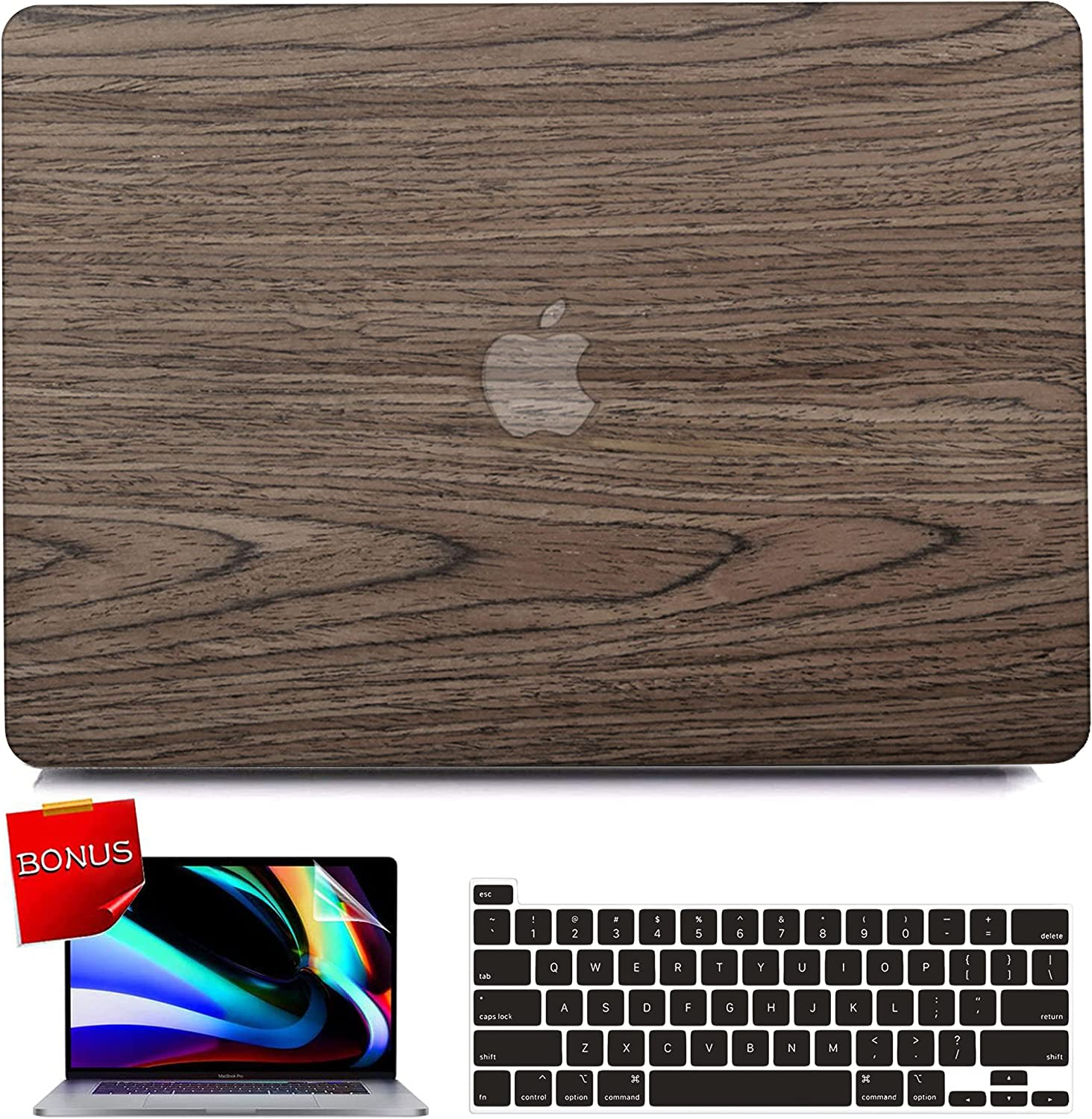 iPAPA Compatible with MacBook Pro 13 inch Case 2020 2019 2018 2017 2016 Release A2338 M1 A2289 A2251 A2159 A1989 A1708 A1706 Touch Bar, Wood Laptop Hard Shell Case + Keyboard Cover + Screen Protector