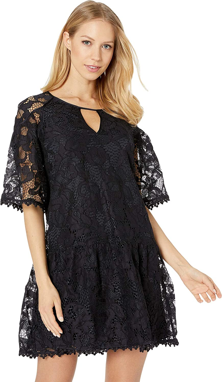 Juicy Couture Black Label Womens Hibiscus Lace Flounce Sleeves Party Dress
