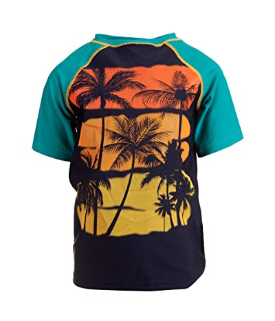 Appaman Kids Sunset and Palm Tree Rashguard (Infant/Toddler/Little Kids/Big Kids) (Teal) Boy