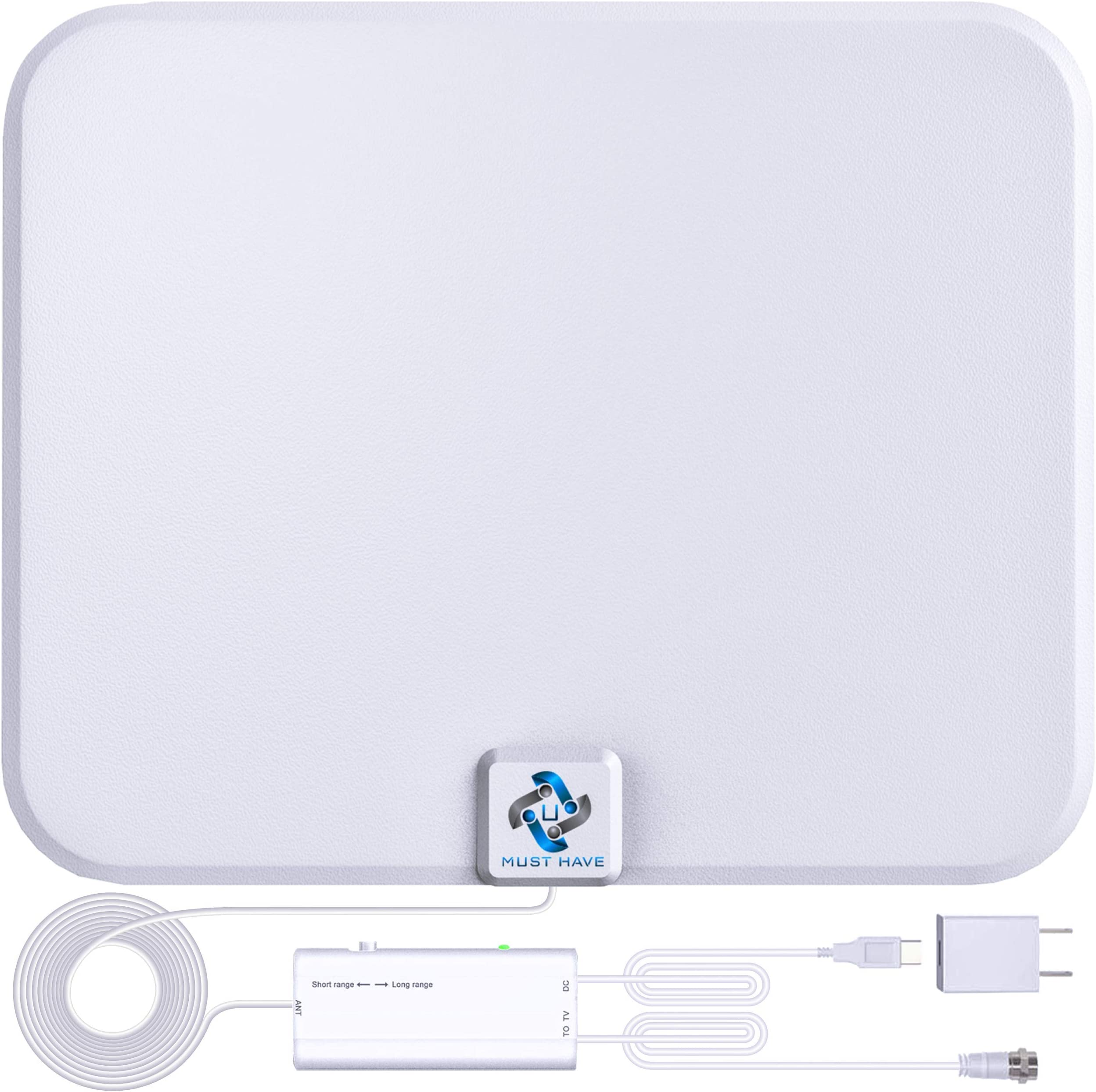 U MUST HAVE Amplified HD Digital TV Antenna Long 200+ Miles Range - Support 4K 1080p Fire tv Stick and All TV's - Indoor Smart Switch Amplifier Signal Booster - 18ft Coax HDTV Cable/AC Adapter (white)