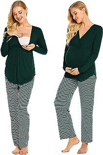 Ekouaer Maternity Nursing Pajama Set Long Sleeve V Neck Top & Striped Pants Breastfeeding Sleepwear Set (S-XXL)