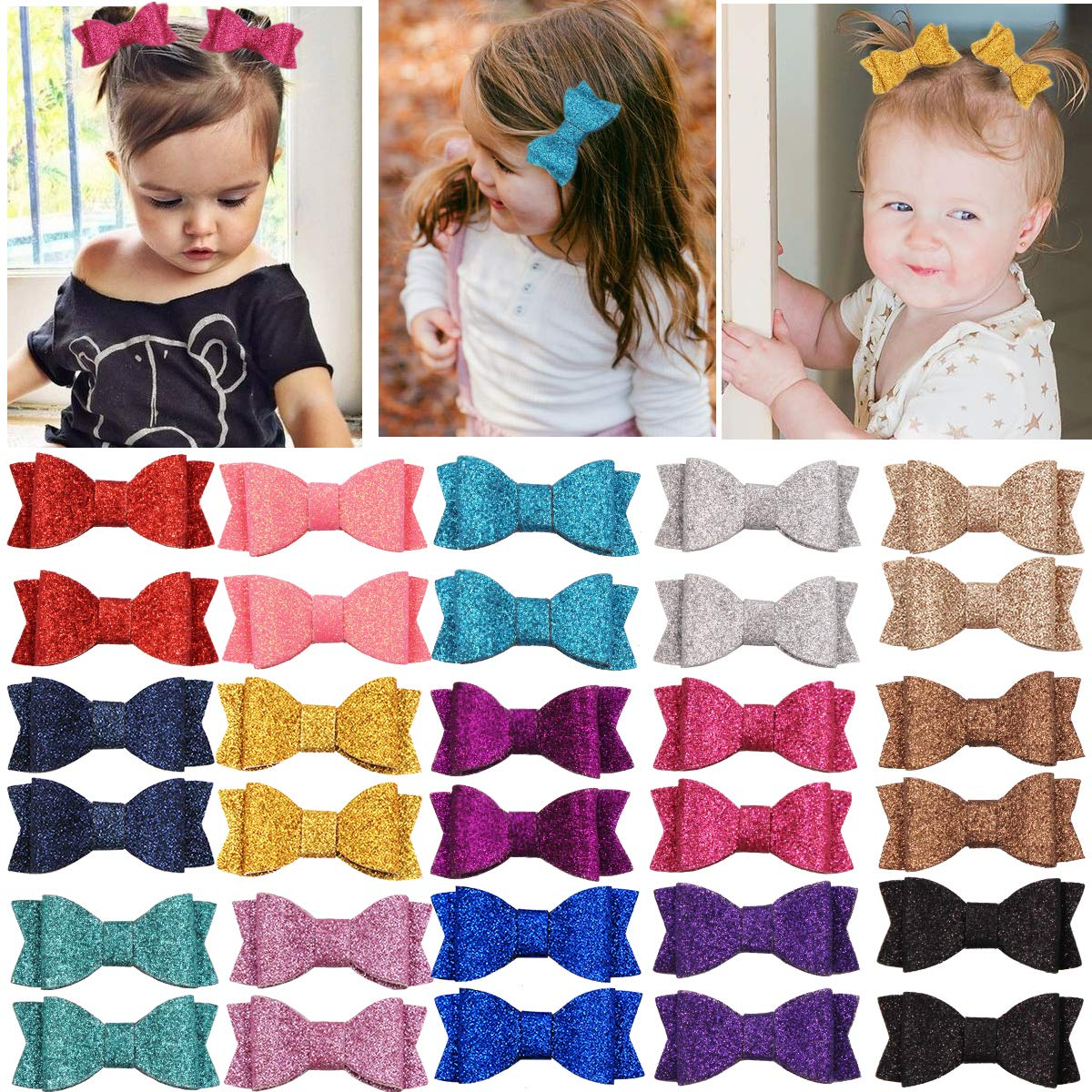 30PCS Attention brand 2.75'' Baby Girls Pigtail Sparkly Sequin Max 80% OFF Bows Glitter Hair