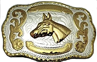 Horse Head Western Cowboy 3d Gold and Silver Finishing Square Belt Buckle