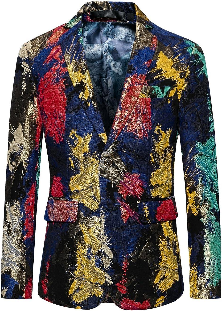 MOGU Mens Blazer with Colourful Irregular Pattern Slim Suit Jacket