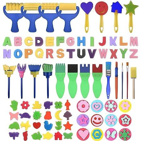 GOTONE 83 pezzi Apprendimento precoce per bambini Kit di pennelli per pittura in spugna, Modello di forme di disegno di spugna lavabile per i più piccolo Regali