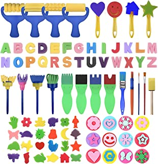 GOTONE 83 Pieces Kids Early Learning Sponge Painting Brushes Kit,Washable Sponge Drawing Shapes Pattern for Kids Toddlers ...