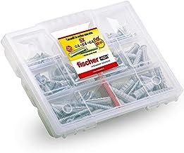 Fischer Kit SX, 544256 pluggen met schroef voor bevestiging aan de muur volledig en geperforeerde baksteen, 80 stuks
