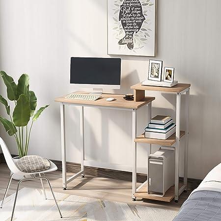 Bureau d'ordinateur avec 3 étagères de rangement – Table d'étude avec bibliothèque moderne en bois pour les petits espaces, bureau d'écriture et bureau à domicile - Naturel