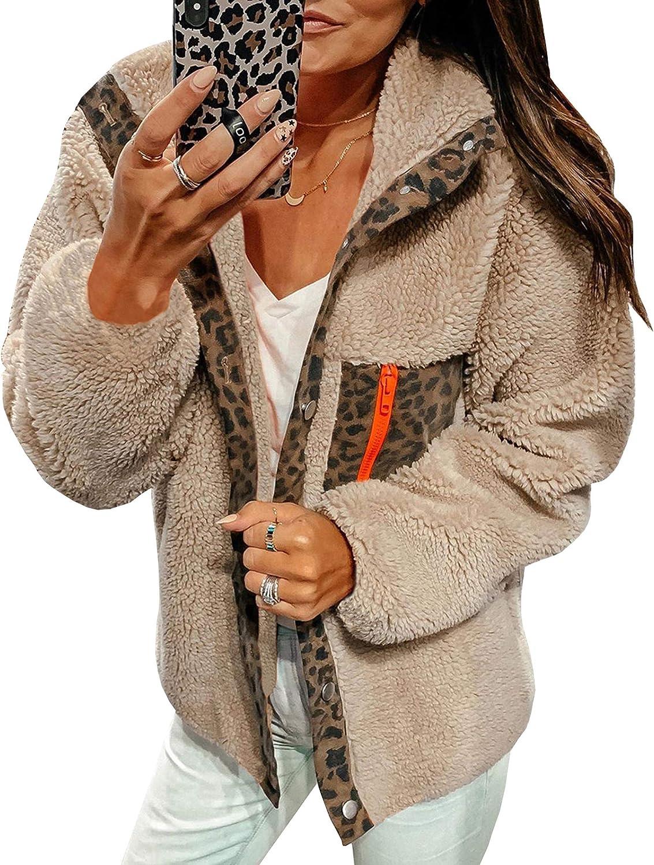 ECOWISH Women Fleece Leopard Coat Long Sleeve Button Down Jackets Winter Lapel Outerwear