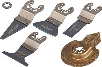 Wolfcraft conjunto básico de sierra vibratoria, 2 hojas de sierra de inmersión BiM 22, 65 mm, 1 rascador mini HCS 7 mm, 1 cortadora-lijadora recubiertas de carburo de tungsteno, 65x88 mm PACK 1