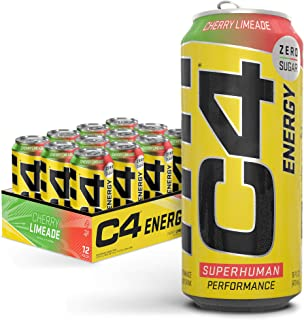 C4 Energy Carbonated Zero Sugar Energy Drink, Pre Workout Drink + Beta Alanine, Cherry Limeade, 16 Fl Oz (Pack of 12)