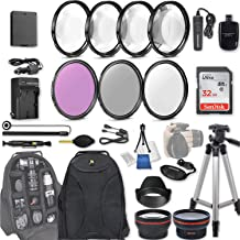 $79 » 58mm 28 Pc Accessory Kit for Canon EOS Rebel T6, T5, T3, 1300D, 1200D, 1100D DSLRs with 0.43x Wide Angle Lens, 2.2x Telephoto Lens, 32GB Sandisk SD, Filter & Macro Kits, Backpack Case, and More