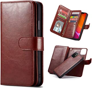 iPhone 11 Case,iPhone 11 6.1'' Wallet Case,Premium PU Leather [9 Credit ID Card Slots] Cash Holder Magnetic Closure Folio Flip Cover with Detachable Case for iPhone 11,6.1 inch 2019 (Brown)