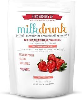 Milk Drunk Fenugreek-Free - Strawberry Dairy Free Protein Powder for Breastfeeding - 20 Servings of Vegan Protein & Lactat...