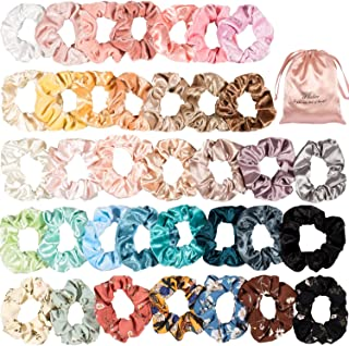 Whaline 36 Hair Scrunchies with Silk Gift Bag Set, Vintage Elastic Scrunchy Bobbles Hair Tie Ropes for Women Girls Hair Accessories, Assorted Colors Scrunchies