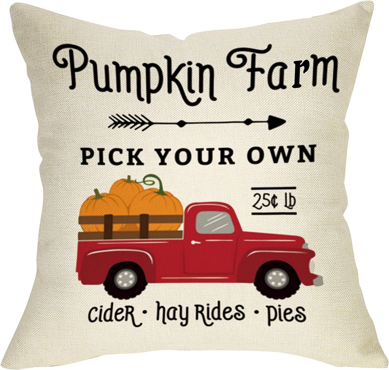 Fbcoo Fall Farmhouse Decorative Throw Pillow Case Pumpkin Farm V