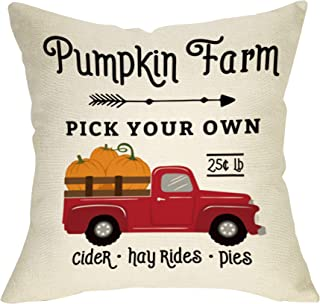 Fbcoo Fall Farmhouse Decorative Throw Pillow Case Pumpkin Farm Vintage Red Truck Decoration Thanksgiving Day Autumn Harvest Sign Cushion Cover Home Decor 18 x 18 Inch Cotton Linen for Sofa Couch