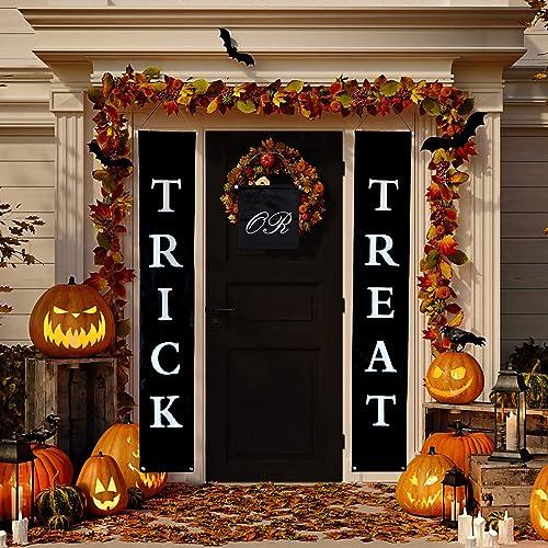 Xgood Trick Treat Halloween Banner Halloween Hanging Banners Signs Halloween  Decorations Home Office Indoor Outdoor Sign