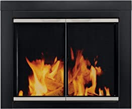 Pleasant Hearth Alsip Sunlight Nickel Fireplace Glass firescreen Doors - Large