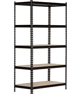 King's Rack 5-Tier Black Steel Storage Rack Boltless Shelving Tier Height Adjustable 42
