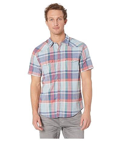 Lucky Brand Short Sleeve Santa Fe Western Shirt (Red/Blue Plaid) Men