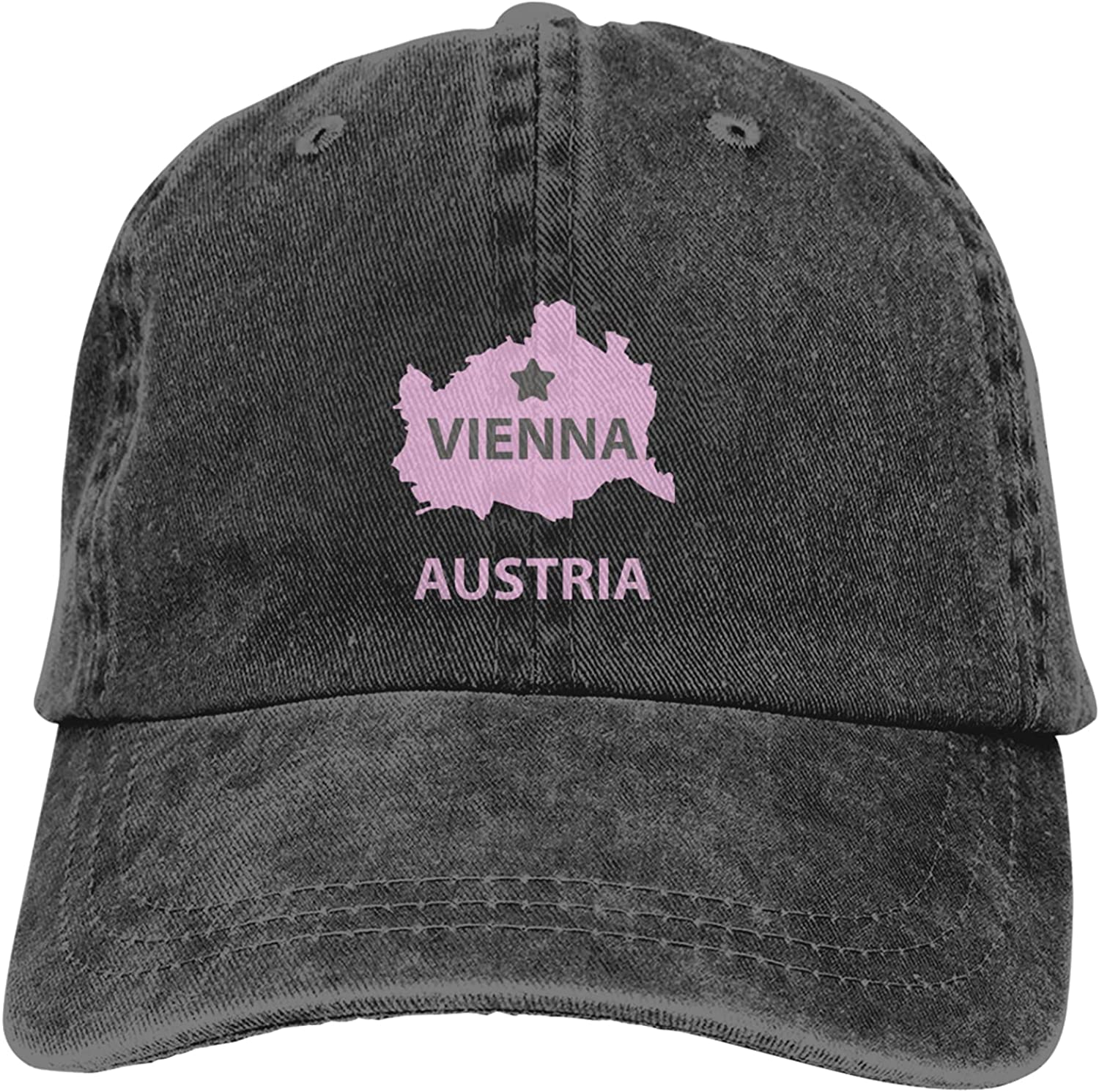 Vienna Austria Map Adjustable Athletic Casual Baseball Fitted Cap Dad Hat Black