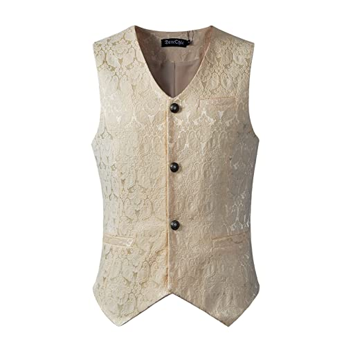 Steampunk-Victorian-Edwardian Brown//Tan Mens Fancy Dress Waistcoat ALL SIZES