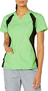 WonderWink Womens 6096A Origins Lima Scrub Top Medical Scrubs Shirt - Green - Small