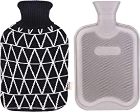HomeTop Classic Rubber Hot Water Bottle w/Classic Yarn Knit Diamond Check Cover (2 Liter) (Black)