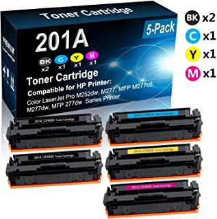 5-Pack (2BK+C+Y+M) Compatible M252, MFP M277 Laser Printer Cartridge (High Capacity) Replacement for HP 201A (CF400A CF401A CF402A CF403A) Printer Toner Cartridge